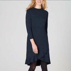 J. Jill Ponte Knit Navy Dress with Ruffle Petite S